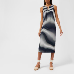 Joules Women's Anita Jersey Tie Neck Dress - Hope Stripe French Navy
