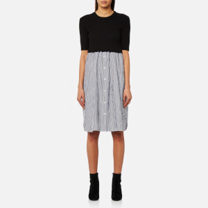 KENZO Women's Short Sleeve Mixed Knitted Dress - Black