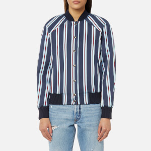 KENZO Women's Stripes Cotton Jacquard Bomber Jacket - Navy Blue