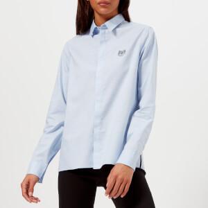 KENZO Women's Cotton Oxford Logo Shirt - Light Blue