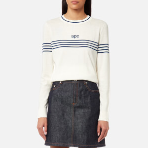 A.P.C. Women's Branded Long Sleeve Jumper - Ecru
