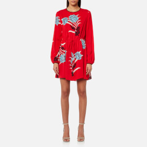 Diane von Furstenberg Women's Crew Neck Mini Dress - Farren Lipstick