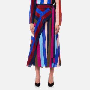 Diane von Furstenberg Women's Draped Wrap Maxi Skirt - Carson Stripe Black/Multi
