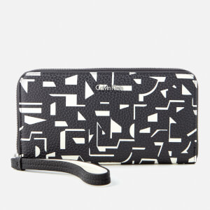 Calvin Klein Women's Edit Large Zip Around Print Purse - Black/Off White
