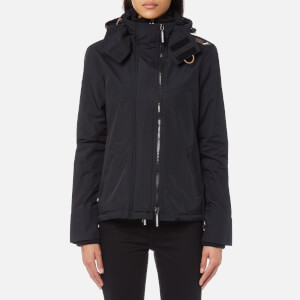 Superdry Women's Tech Hooded Pop Zip Windcheater Coat - Black/Lurex Gemstone