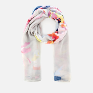Joules Women's Harmony Oversized Woven Print Scarf - Silver Whitstable Floral