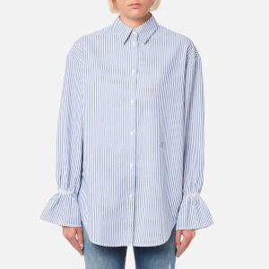 Emporio Armani Women's Ruffle Sleeve Shirt - Blue