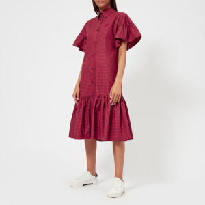 McQ Alexander McQueen Women's Short Bubble Sleeve Shirt Dress - Amp/Red Darkest