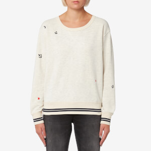 Maison Scotch Women's Vintage Inspired Embroidered Sweatshirt - Ecru Melange