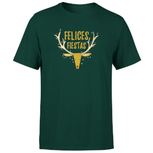 Felices Fiestas Reindeer T-Shirt - Forest Green