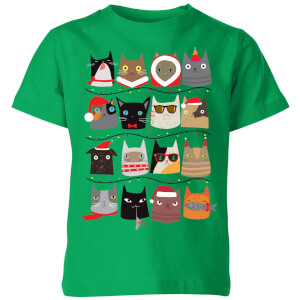 Christmas Cats Kids' T-Shirt - Kelly Green