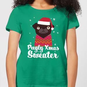 Pugly Xmas Women's T-Shirt - Kelly Green