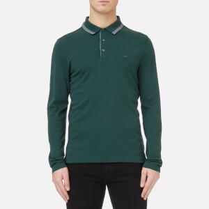 Michael Kors Men's Greenwich Logo Jacquard Long Sleeve Polo Shirt - Atlantic Green