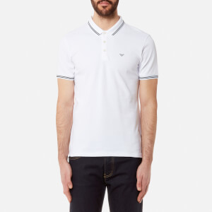 Emporio Armani Men's Tipped Polo Shirt - Bianco Ottico