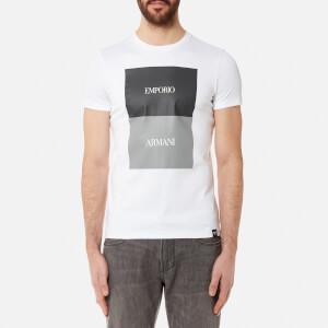 Emporio Armani Men's Square Print T-Shirt - Bianco Ottico