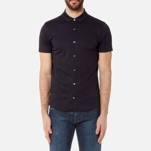 Emporio Armani Men's Cotton Short Sleeve Shirt - Blu Navy