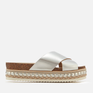 Carvela Women's Kake Leather Cross Front Flatform Sandals - Silver