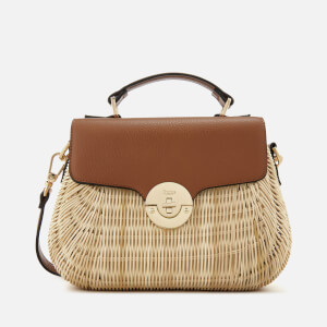 Dune Women's Wicker Bag with Leather Flap - Tan: Image 1