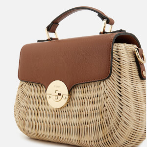Dune Women's Wicker Bag with Leather Flap - Tan: Image 4