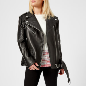 Karl Lagerfeld Women's Oversized Leather Biker Jacket - Black