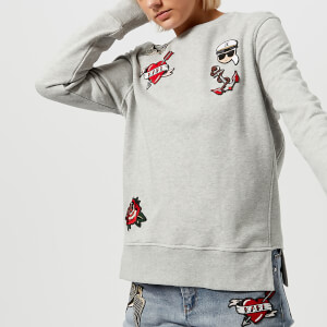 Karl Lagerfeld Women's Captain Karl Patches Sweatshirt - Grey