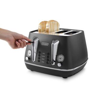 De'Longhi Distinta 4 Slice Toaster and Kettle Bundle - Black Finish: Image 8