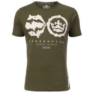 T-Shirt Homme Unsteady Crosshatch - Vert Kaki
