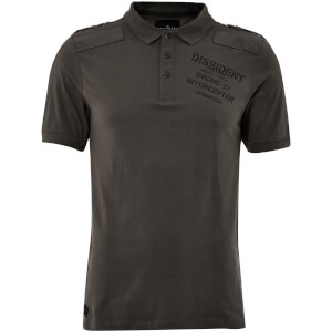 Dissident Men's Mazo Shoulder Panel Polo Shirt - Raven Grey