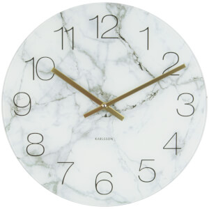 Karlsson Small Glass Marble Wall Clock - White