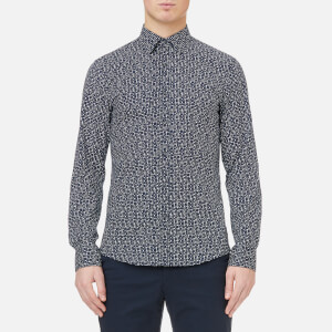Michael Kors Men's Trim Stretch Dot Print Shirt - Midnight