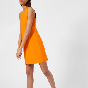 MSGM Women's V Neck Mini Dress - Orange