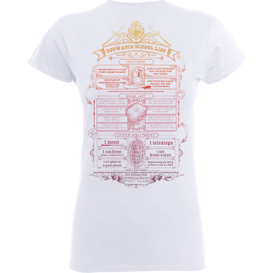 Harry Potter Hogwarts School List Women's White T-Shirt