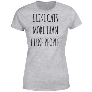 I Like Cats More Than People Women's T-Shirt - Grey