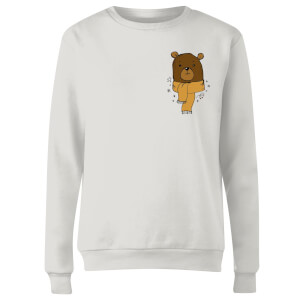 Christmas Bear Pocket Women's Sweatshirt - White