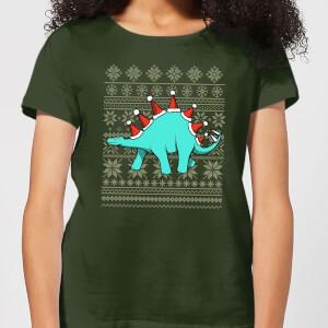 "Camiseta Navidad ""Stegosanta"" - Mujer - Verde oscuro"