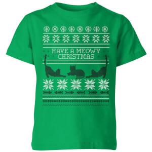 Meowy Christmas Kids' T-Shirt - Kelly Green