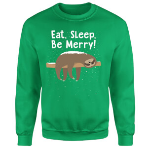 Eat, Sleep, Be Merry Sweatshirt - Kelly Green