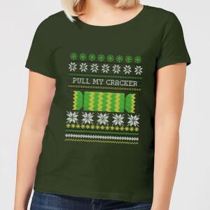 "Camiseta Navidad ""Pull My Cracker"" - Mujer - Verde oscuro"