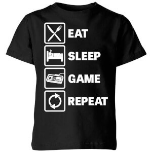 Eat Sleep Game Repeat Kids' T-Shirt - Black