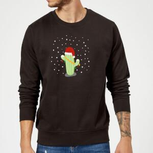 Pull de Noël Homme Cactus Santa Hat - Noir