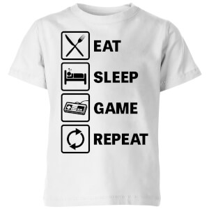 Eat Sleep Game Repeat Kids' T-Shirt - White