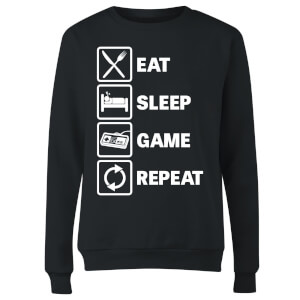 Eat Sleep Game Repeat Women's Sweatshirt - Black