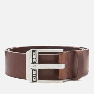 Diesel Men's Bluestar Leather Belt - Chestnut/Argento
