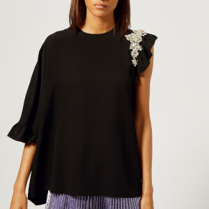 Christopher Kane Women's Crystal Frill Top - Black