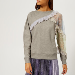 Christopher Kane Women's Patchwork Lace Sweatshirt - Grey Melange