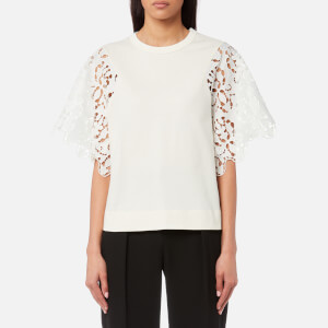 See By Chloé Women's Jersey and Lace Top - Snow White