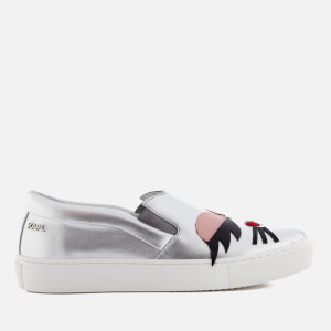Karl Lagerfeld Women's Kupsole Choupette Lash Leather Slip On Trainers - Silver