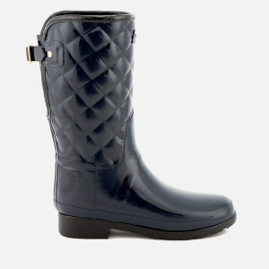 Hunter Women's Refined Gloss Quilt Short Wellies - Navy