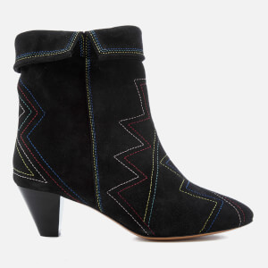 Isabel Marant Women's Dyna Suede Fold Over Heeled Boots - Faded Black