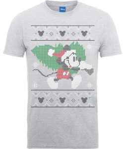 Disney Mickey Mouse Mickey Christmas Tree Men's Grey T-Shirt